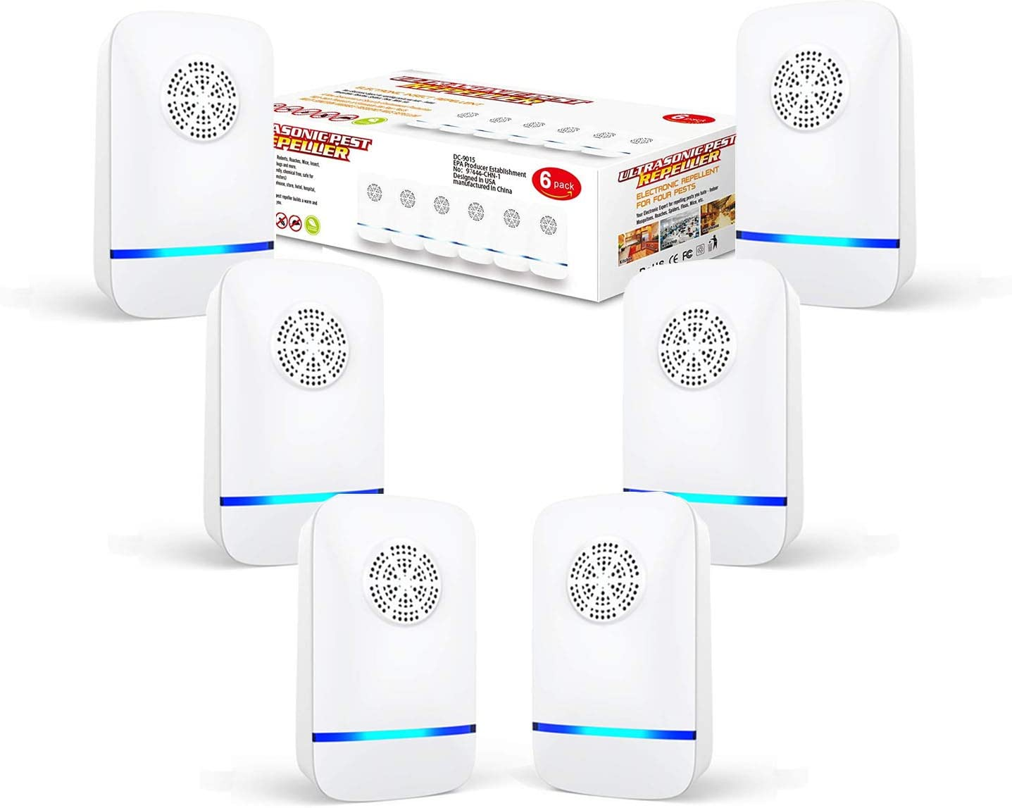 Ultrasonic Pest Repeller(6 Pack), 2020 Pest Control Ultrasonic Repellent, Electronic Repellant - Bug Repellent for Mice, Ant, Mosquito, Spider, Roach, Rat, Flea, Fly