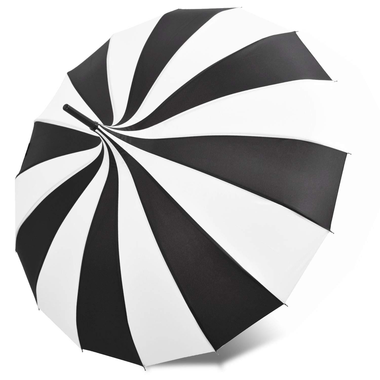 Kung Fu Smith Retro Pagoda Umbrella Parasol for Women and Girls, Sun UV Protection Rain Umbrella - Black and White by Kung Fu Smith