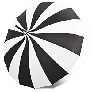 Kung Fu Smith Vintage Pagoda Umbrella Parasol for Women and Girls, Sun UV Protection Rain Umbrella - Black and White