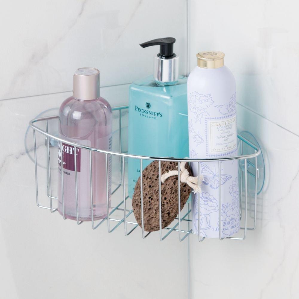 Amazon.com: InterDesign Rondo, Suction Bathroom Shower Caddy Corner ...