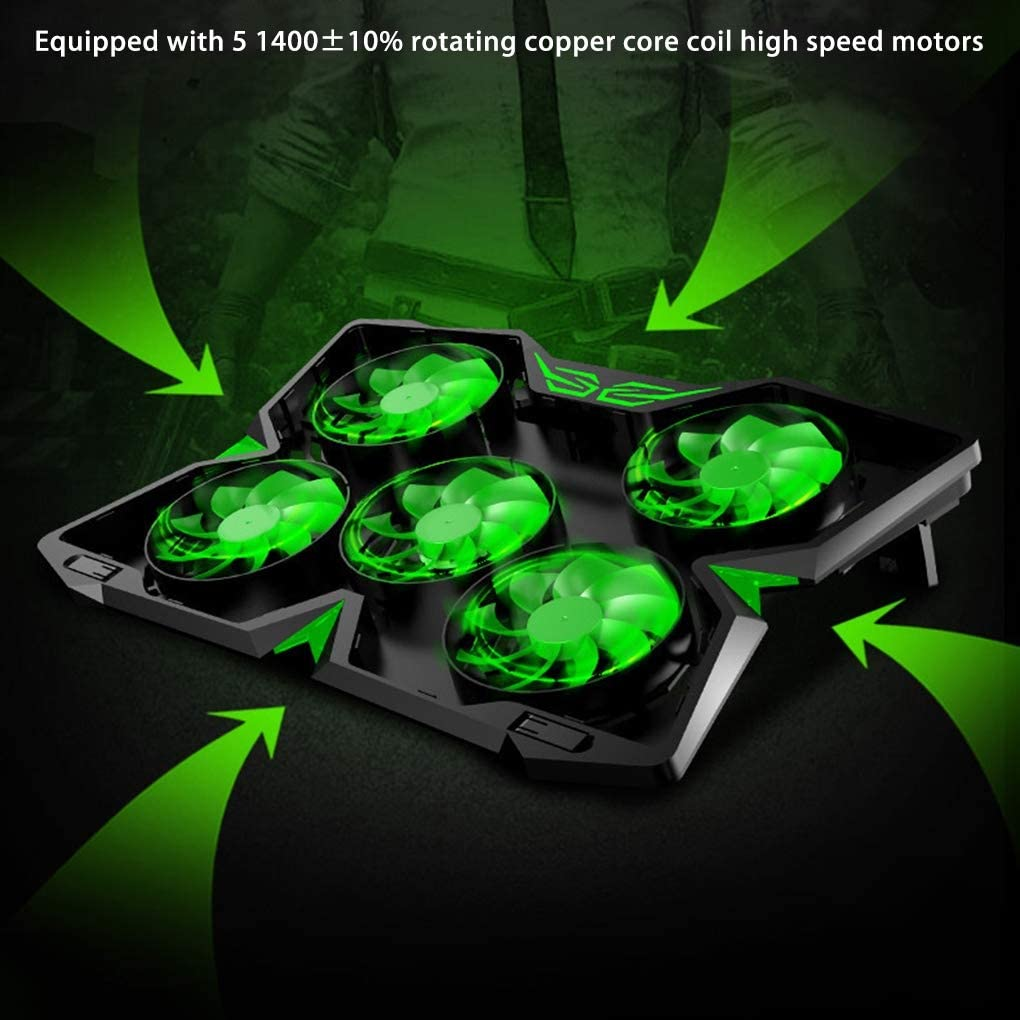 Five Quite Fans,1400RPM Strong Wind Alien Style Designed for Gamers and Office,CamouflagePowerversion 15.6-17.3-Inch Gaming Laptop Cooler Cooling Pad