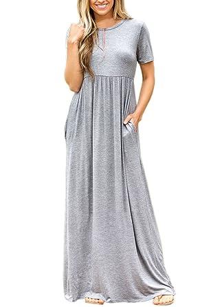 b09cdd44548 ROSKIKI Women's High Waist Pleated Pockets Short Sleeve Long Shirt Maxi  Dress S(4-