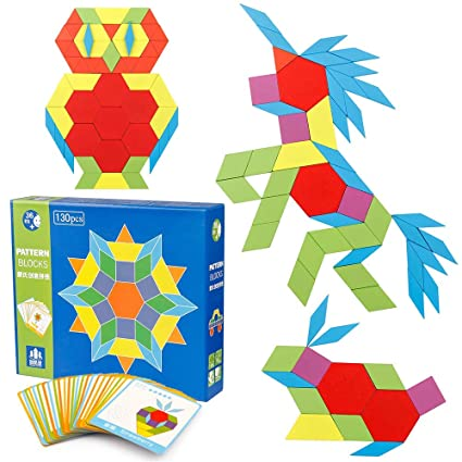 FunBlast Wooden Pattern Blocks Classic Educational Montessori Toys Tangrams Set for Kids with 130 Geometric Shape Pieces and 24 Design Cards