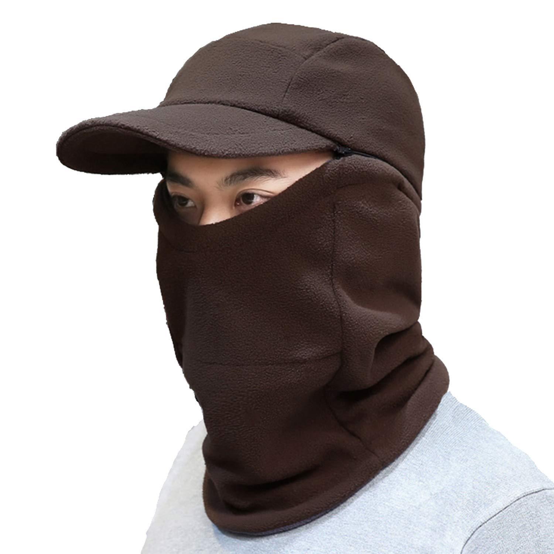 GESDY Winter Balaclava Fleece Hood Skull Cap with Visor Windproof Neck Warmer Ski Hat for Motorcycling