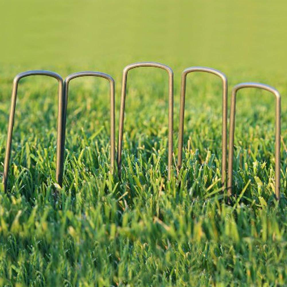 Agrafes en Acier galvanis/é pour la Fixation de Clous pour Sol en Tissu /à Motif de Mauvaises Pointes//Epingles//Clous Clous en Forme de 7,87po de s/écurisation de Jardin ckground Paquet de 50
