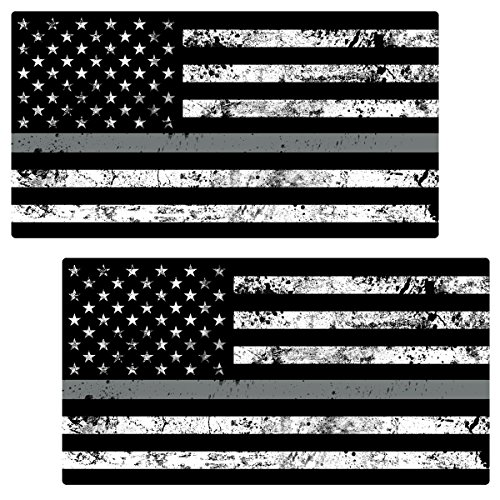 AZ House of Graphics Thin Silver Line Flag GRUNGE Stickers 2