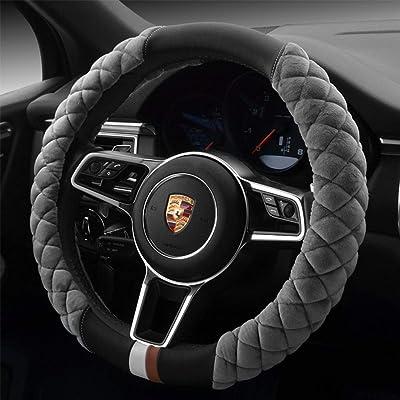 Cxtiy Universal Car Steering Wheel Cover Fluffy Winter Plush Steering Wheel Cover (A-Gray): Automotive