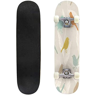 "Seamless Pattern with Spring Flowers and Leaves Hand Drawn Background Outdoor Skateboard 31""x8"" Pro Complete Skate Board Cruiser 8 Layers Double Kick Concave Deck Maple Longboards for Youths Sports : Sports & Outdoors"