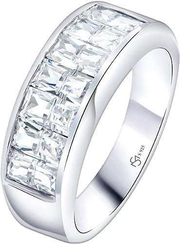 Hermoso Anillo de hebilla de diamante negro en platino sobre plata esterlina