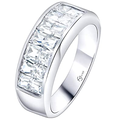 f7c3a2909 Sterling Silver .925 Ring Band with Cubic Zirconia (CZ) Stones, Platinum  Plated Jewelry. for Men, Women.|Amazon.com