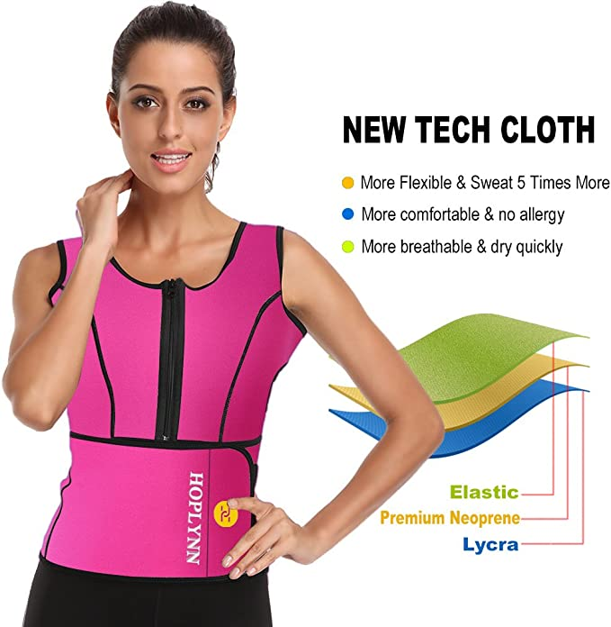 HOPLYNN Neoprene Sauna Sweat Waist Trainer Corset Trimmer Vest for Women Weight