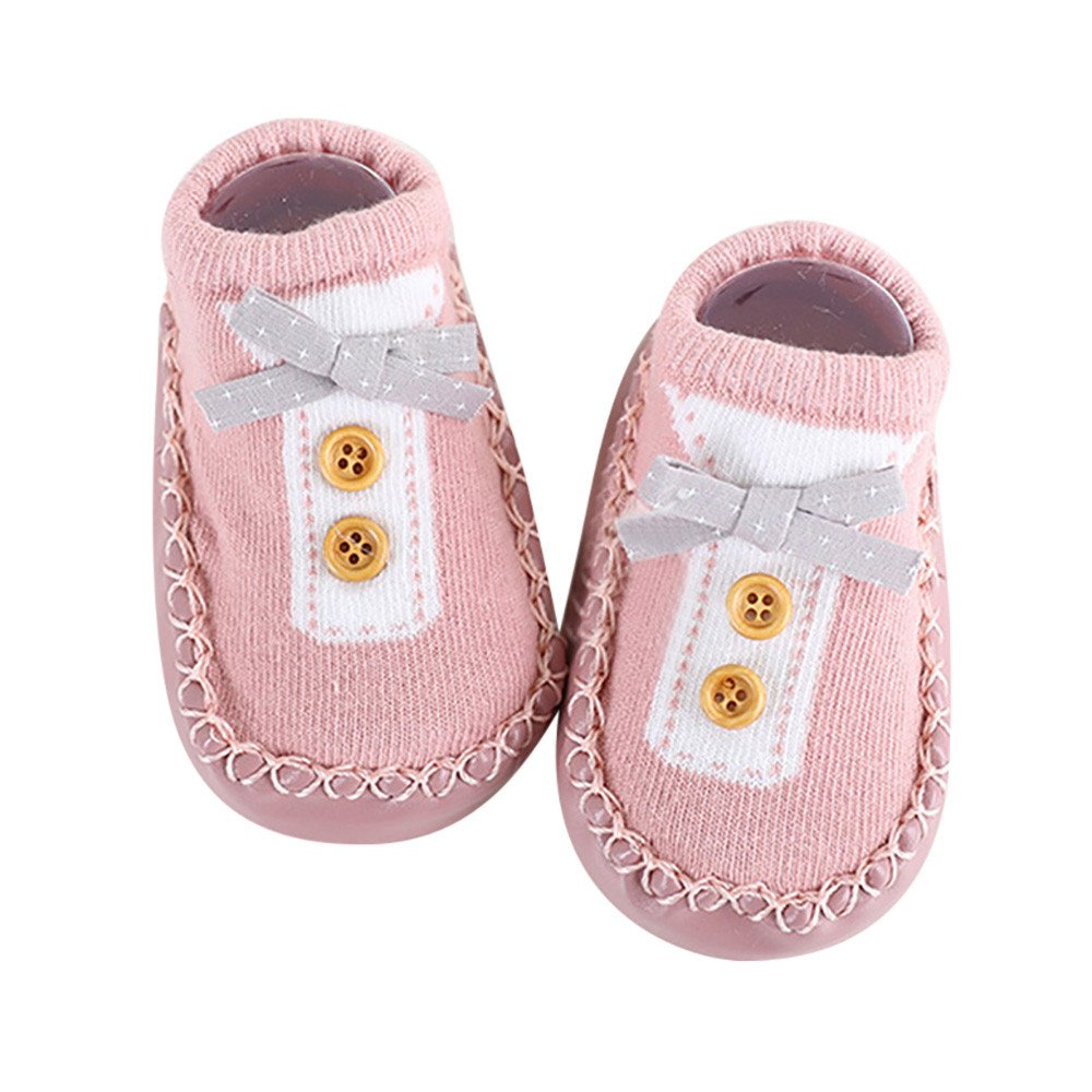 Inkach Clearance Newborn Baby Anti-Slip Slipper Floor Socks Soft Bottom Non-Slip Booties Shoes (L, Pink)