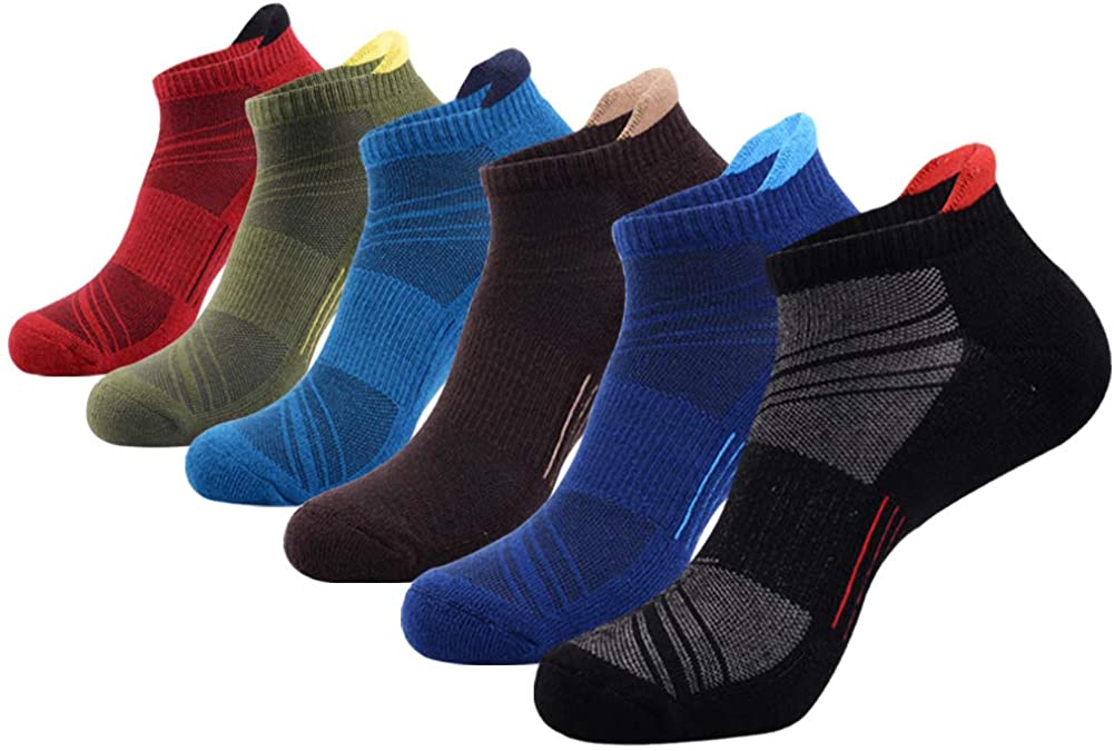 Mens Ankle Low Cut Athletic Tab Socks for Men Sport Comfort Cushion Sock 6 Pack
