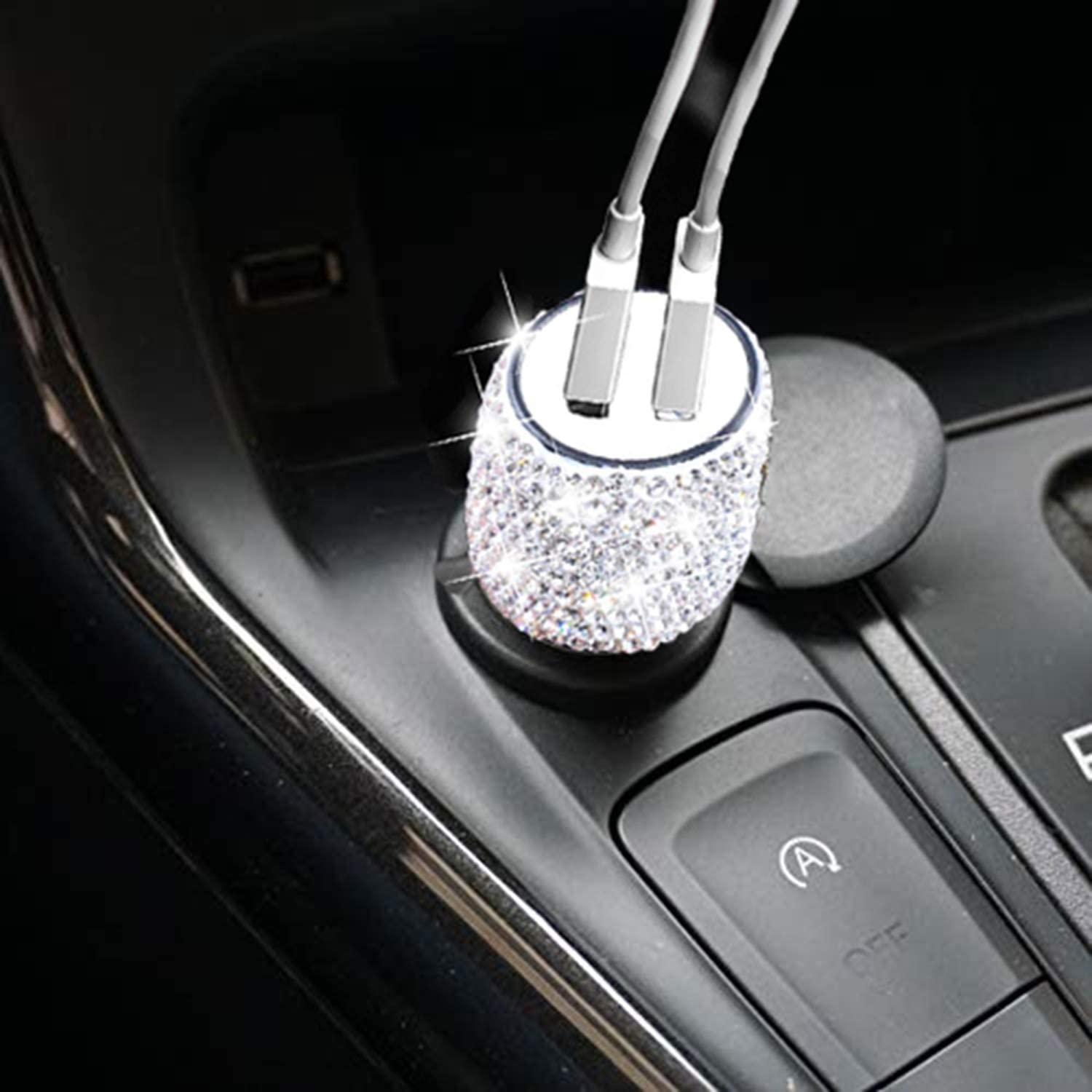 Dual USB Car Charger with Bling Bling Handmade Rhinestones Crystal, Car Decorations for Fast Charging, Car Decors for iPhone, iPad Pro/Air 2/Mini, Samsung Galaxy Note9/8/S9/S9+,LG, Nexus, HTC, etc