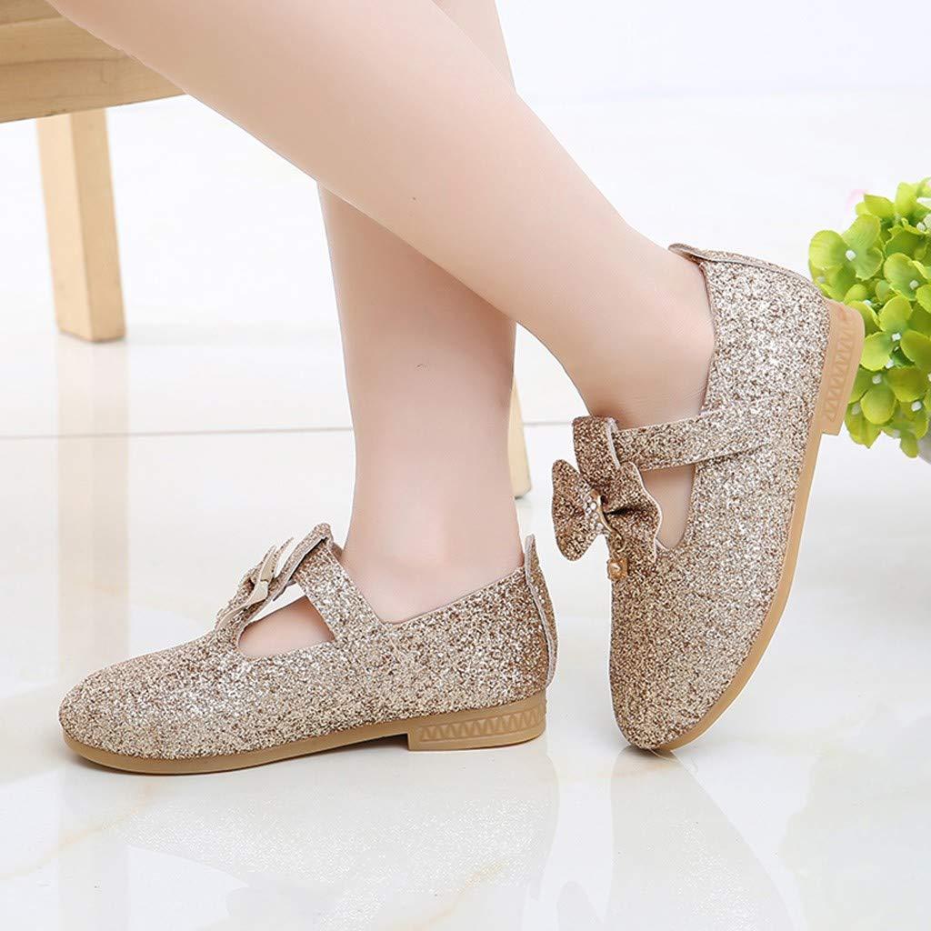 Infant Baby Girls Pendant Bowknot Crystal Mary Jane Flat Single Princess Shoes
