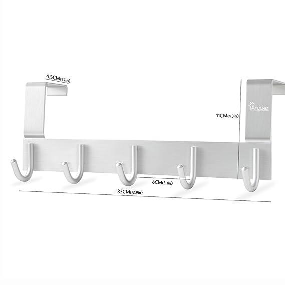 Anjuer Perchero para Puerta Colgadores de Puerta Aluminio Percha de Baño Gancho de Baño para los dormitorios baños armarios gabinete - 5 Ganchos: Amazon.es: ...
