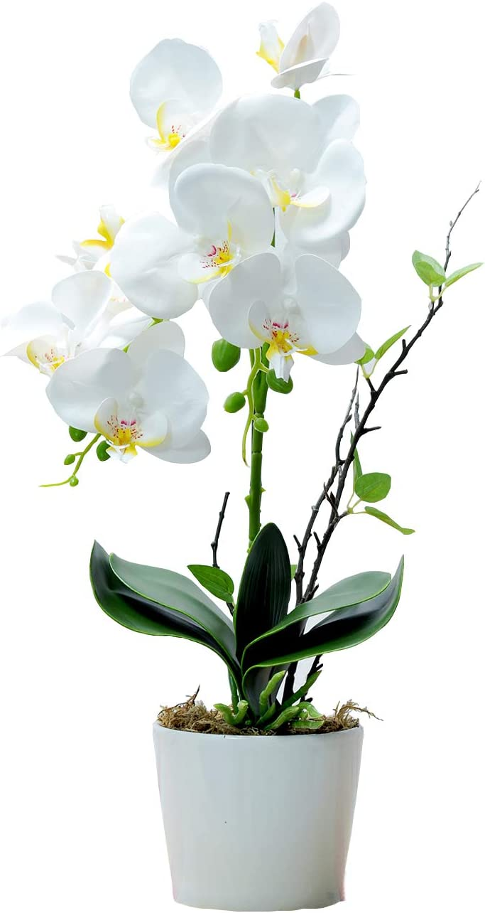 ONEUSTAR Artificial Orchids for Decoration White Orchid Flower Plant with Vase for Home Office Party Wedding
