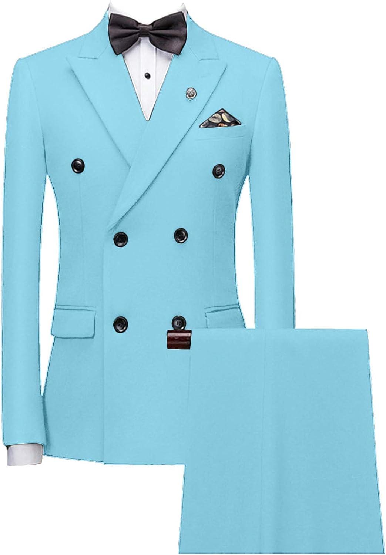 GATMSTZ Men Formal Peak Lapel 2 Pieces Suit Double Breasted Wedding Jacket Pants