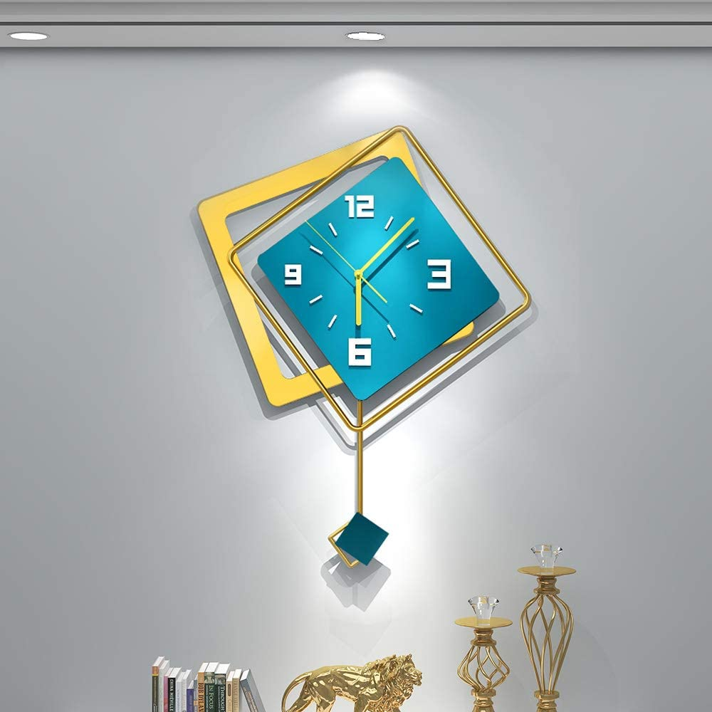YIJIDECOR Large Wall Clocks for Living Room Decor,Square Pendulum Wall Clock Silent Non Ticking,Fashion Style Home Decorative for Bedroom,Office,Kitchen