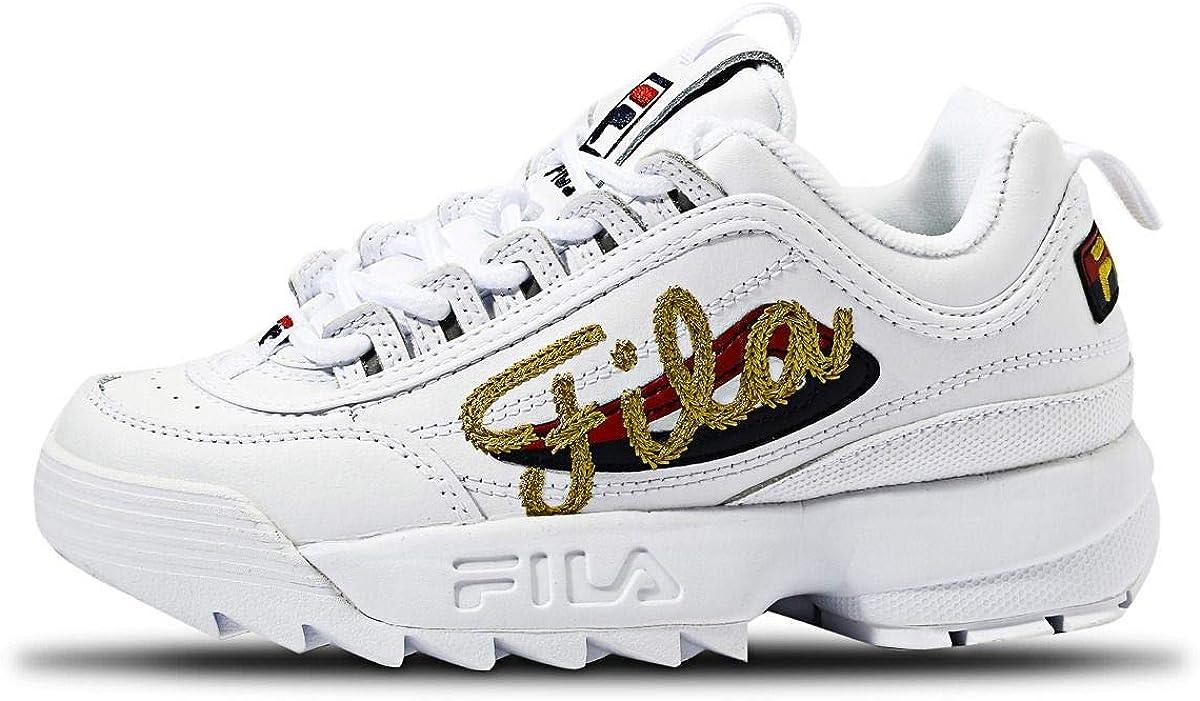 Fila Women's Disruptor Low Wmn 1010302-12v Top Sneakers Premium Script White Gold 2052