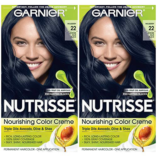Garnier Hair Color Nutrisse Nourishing Creme, 22 Intense Blue Black, 2 Count