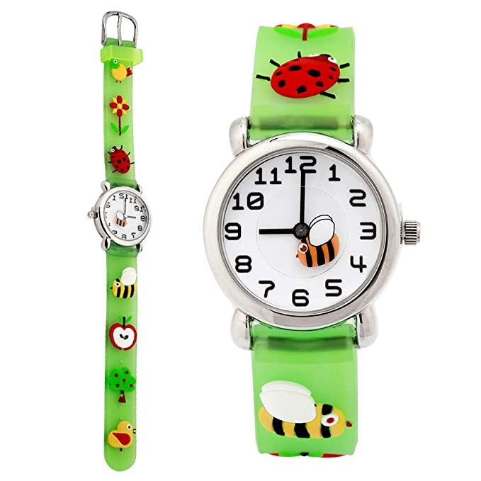 TOPCHANCES Kids Watches,Childrens 3D Cartoon Quartz Watch with Comfortable Silicone Band Waterproof Toddler Time