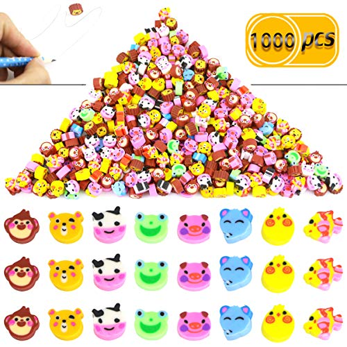 - Pralb 1000PCS Miniature Assorted Animals Collection Pencil Top Erasers, Adorable Animal Designs Won't Smudge Or Tear Paper,Eraser Caps Style Great For Homework Rewards, Party Favors, And Art Supplies.