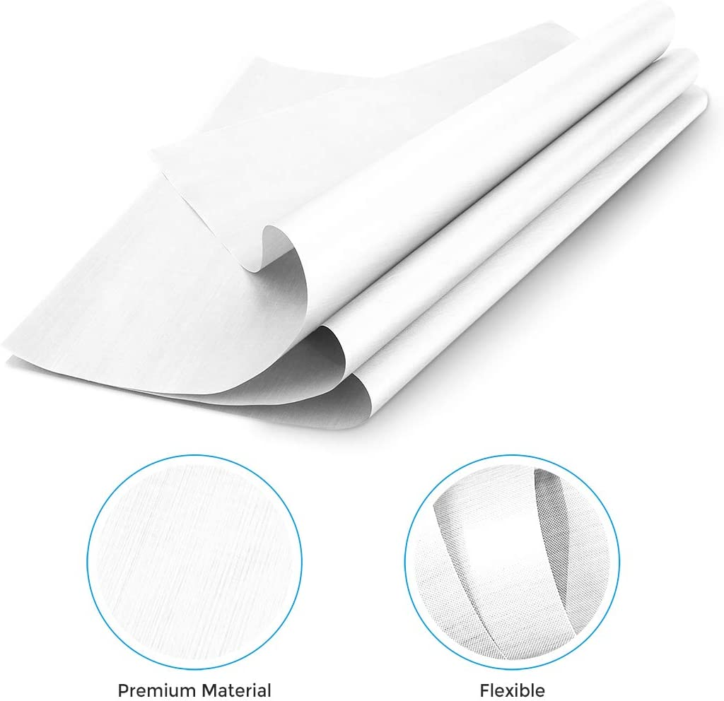 16x24, White Teflon Heat Press with Thickness of 0.11mm 10 Pack