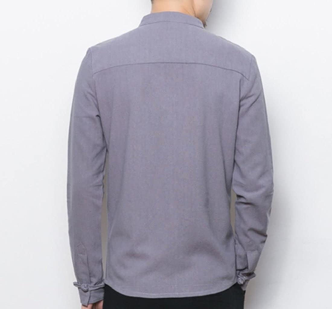 Abetteric Mens Retro Solid Colored Long Sleeve Linen Chinese Style Buckle Simple Shirts