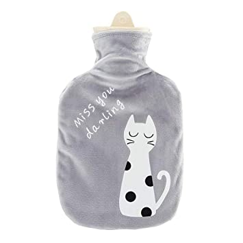 Drizzle Bolsa de agua caliente goma natural peluche super suave diseño calor y confort (Gato gris)
