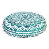 Radhy Krishna Fashions Large 32'' Green Ombre Round Pillow Cover, Decorative Mandala Pillow Sham, Indian Bohemian Ottoman Poufs, Pom Pom Pillow Cases, Outdoor Cushion Cover,