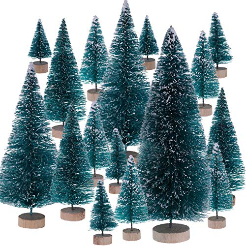 Leinuosen 43 Pieces Artificial Mini Christmas Trees Tabletop Trees Snow Ornaments for Christmas Party Home Decoration, 6 Sizes