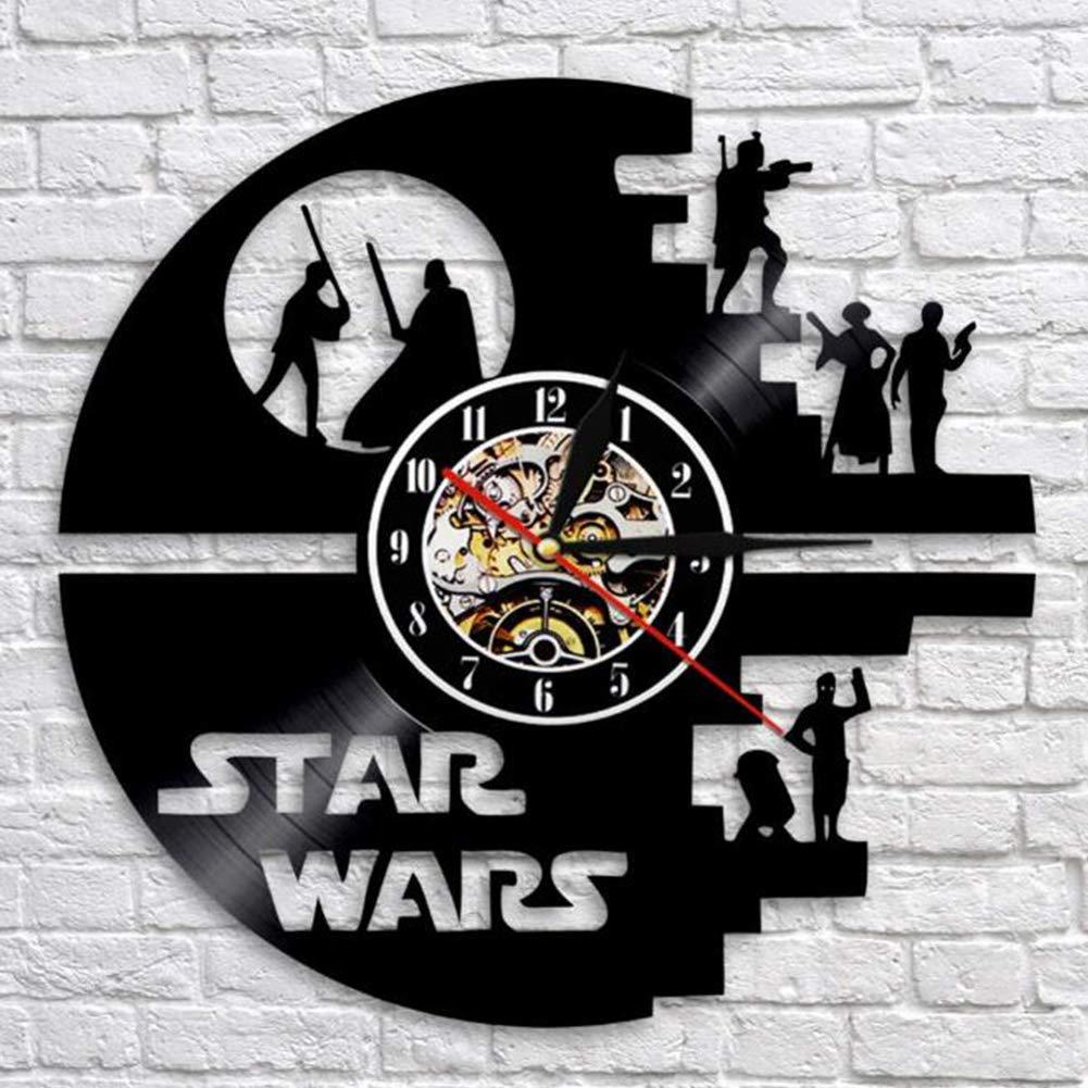 QIKUO Horloge Murale Disque Vinyle LED Star Wars Star Wars avec T/él/écommande Backlight Vintage Handmade Home Decor Art,Black