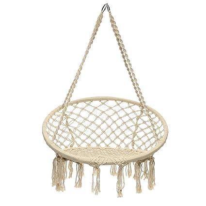 871d09331 SAFETYON Hamaca de cuerda para colgar, asiento de columpio, cuerda tejida,  barra de