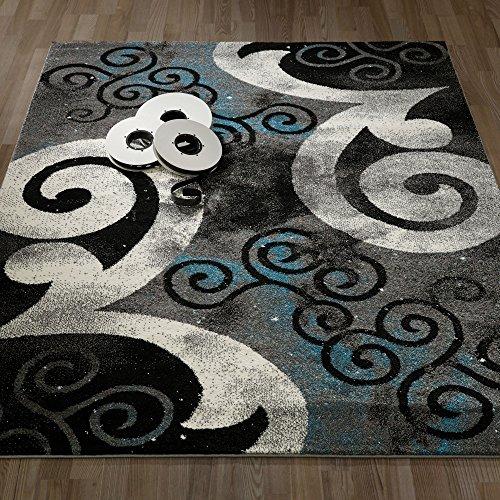 Black Swirl Rug - 7