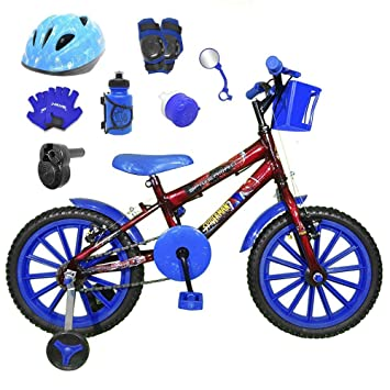 d41e085e0 Bicicleta Infantil Aro 16 Vermelha Kit Azul C Capacete