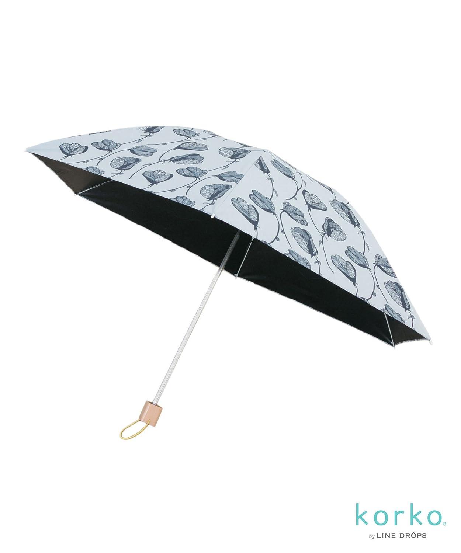 (アメメ) ameme korko 晴雨兼用折畳傘 MINISUN-KA84 B07BMWH5ZV Free|ラインフラワー ラインフラワー Free