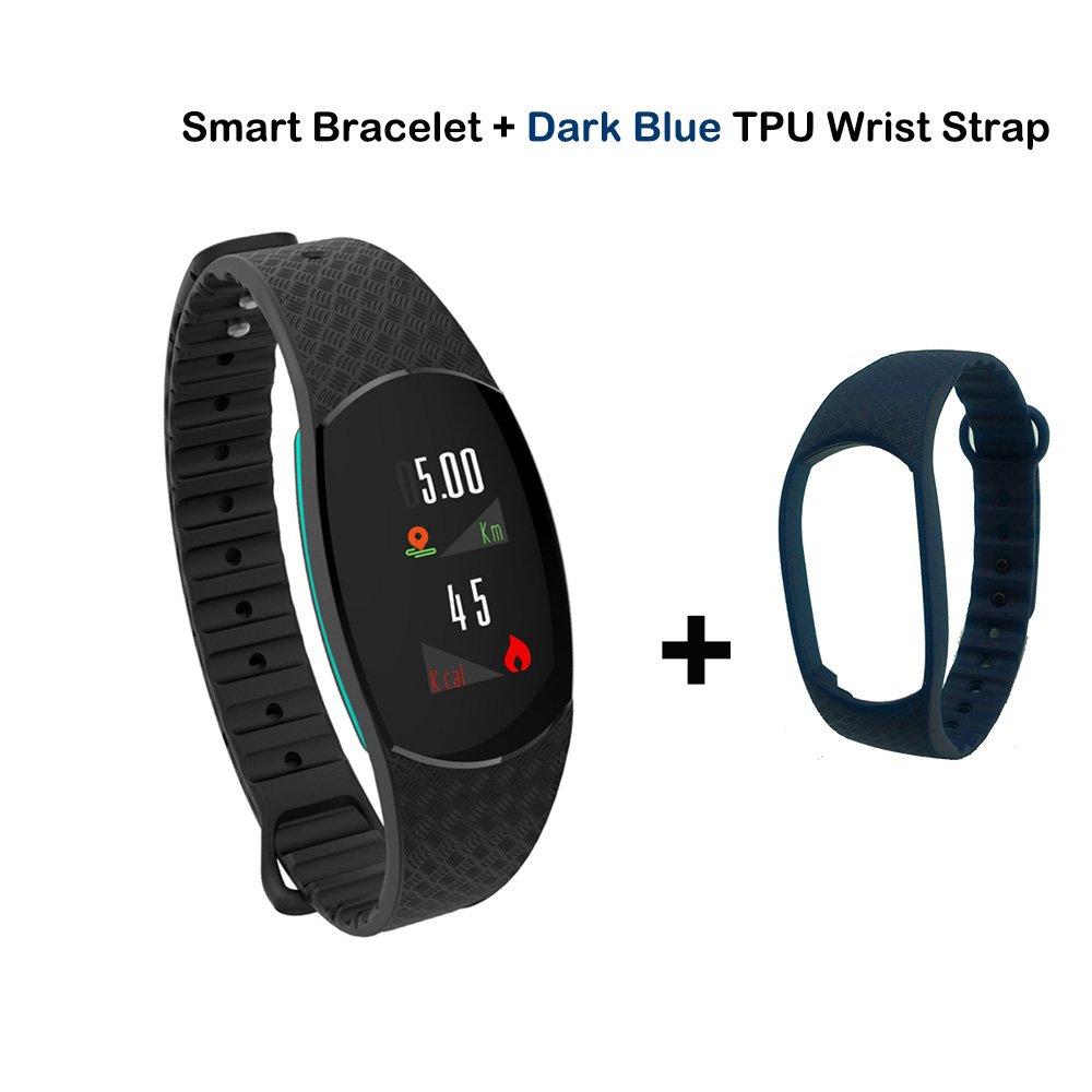 keptfitスマートブレスレットFitness Tracker with HR血圧モニタ、ip67防水カラフルな画面スマートWatch Calorie CounterスマートリストバンドSleep Monitor  ブラック+ブルー B07DJ4TK9Y