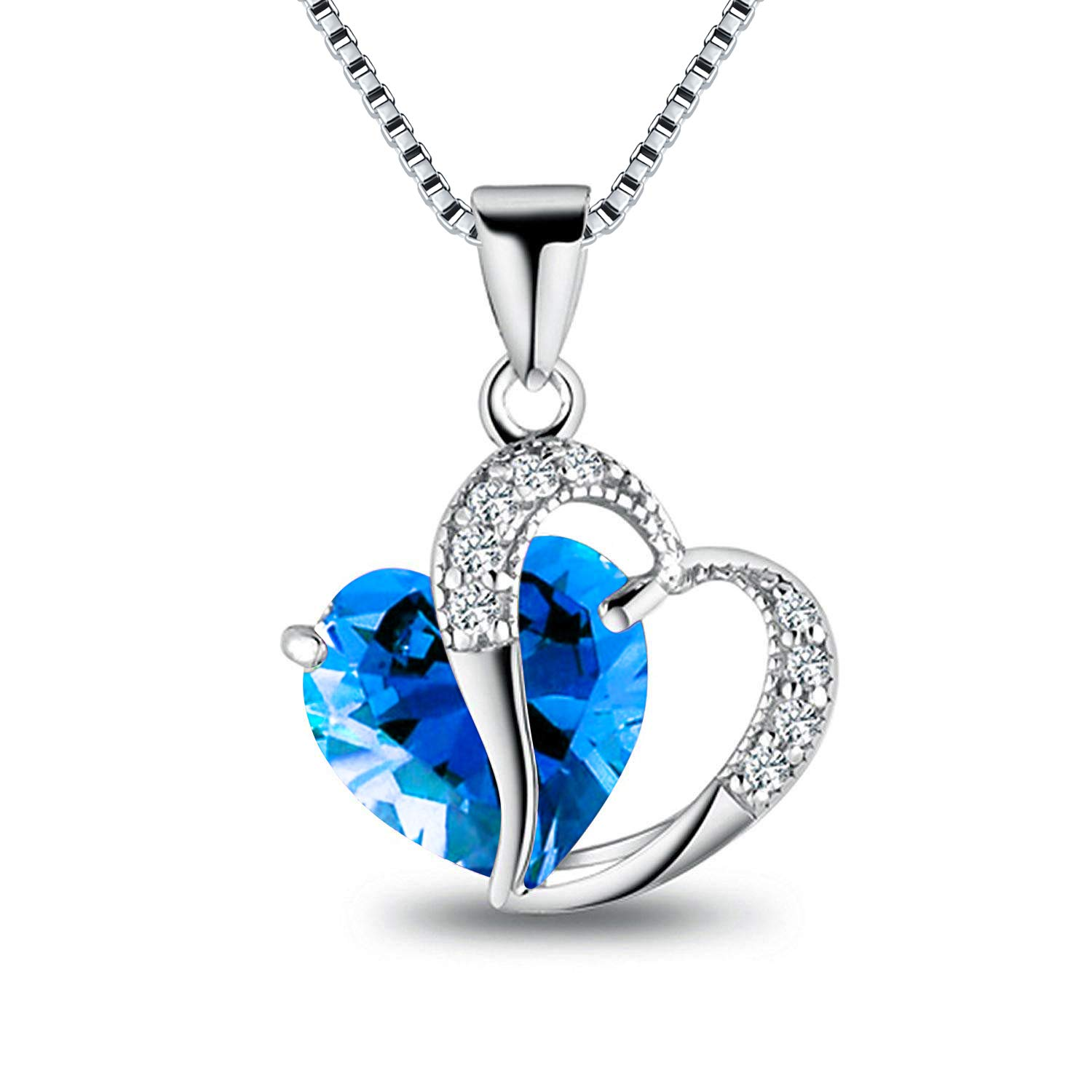 ASHINE Sterling Silver Open Heart Created Opal Pendant Necklace 18 Created Birthstone Jewelry for Women