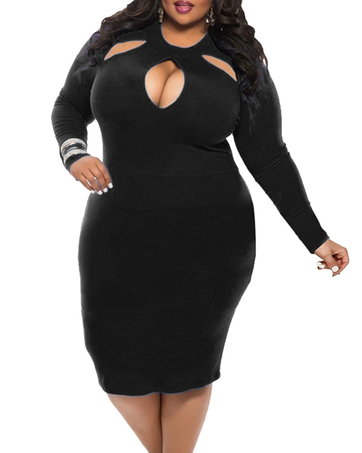 BIUBIU Womens Plus Size Sexy Long Sleeve Club Bodycon Bandage Midi Dress L-4XL