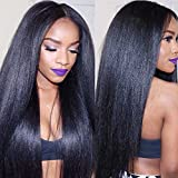 Eayon Hair 6A Virgin Hair Glueless Human Hair Lace Front Wig Brazilian Remy Light Yaki Straight Hair Wigs with Baby Hair For African Americans 130% Density Natural Color 14inch