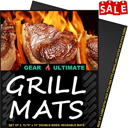 'BBQ Grill Mats:, 2 Highest Quality Non-Stick PFOA-Free Reusable Extra Thick BBQ Grill & Baking Mats, with Bonus Grill Mastery Recipe Ebook' from the web at 'https://images-na.ssl-images-amazon.com/images/I/61qKzKQXW0L.jpg'