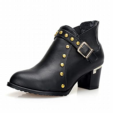 Women's Buckle Bungee Chunky Heel Chelsea Boots