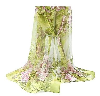 509125496a02 Westeng Femme Foulards Echarpe Châle en Mousseline de Soie Foulards Motif  de Fleur Douce pour Femme