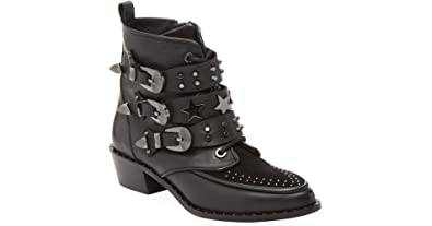 e892268899601 Ivy Kirzhner Steampunk Black Leather Pointed Toe Buckle Studs and Stars  Bootie (6)