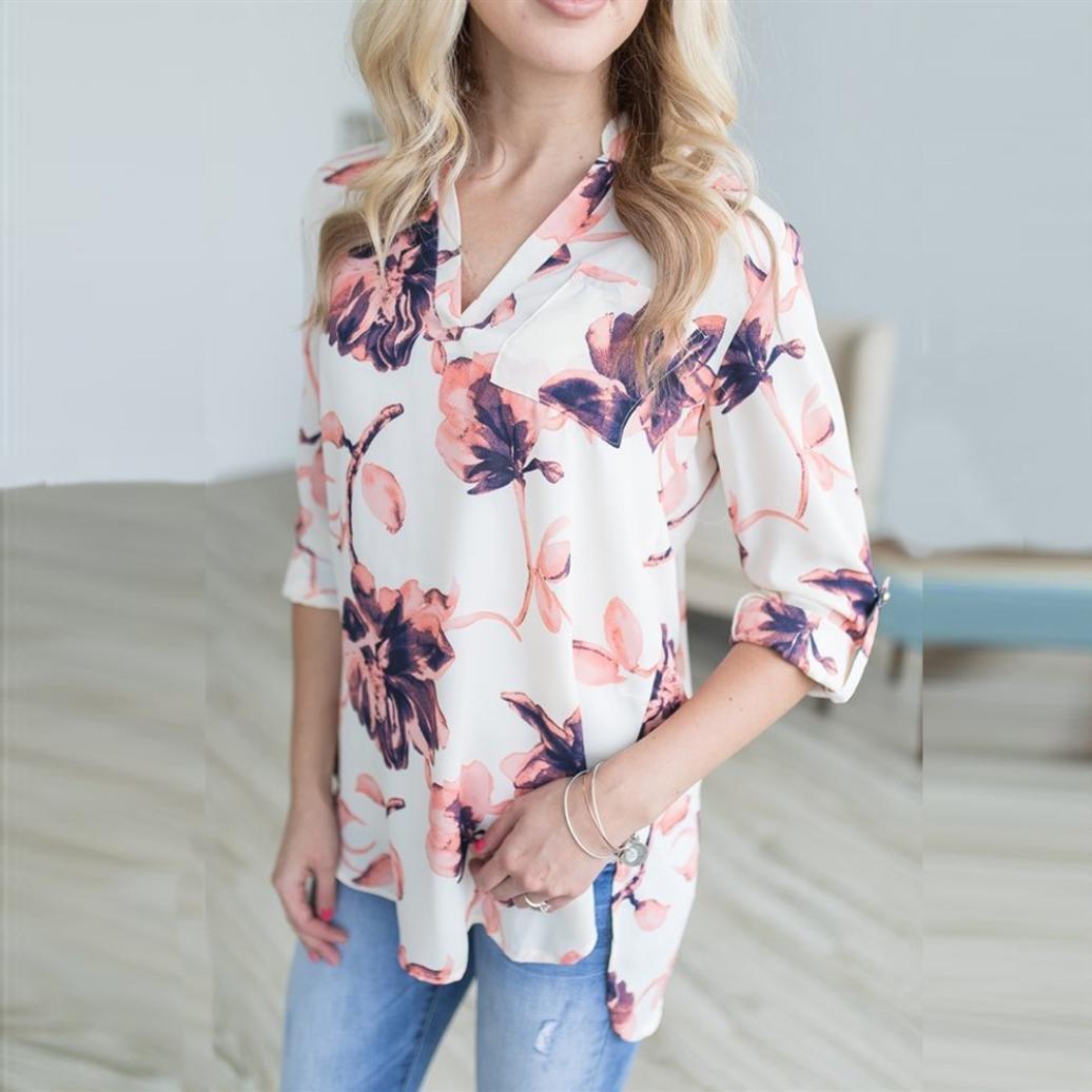 Para mujer camiseta de manga larga floral impresión cuello en V blusas blanco blanco small: Amazon.es: Electrónica