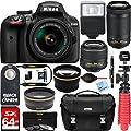 Nikon D3400 24.2 MP DSLR Camera + AF-P DX 18-55mm & 70-300mm NIKKOR Zoom Lens Kit + 64GB Memory Bundle + Nikon Photo Bag + Wide Angle Lens + 2x Telephoto Lens + Flash + Remote +Tripod+Filters (Black) from Nikon