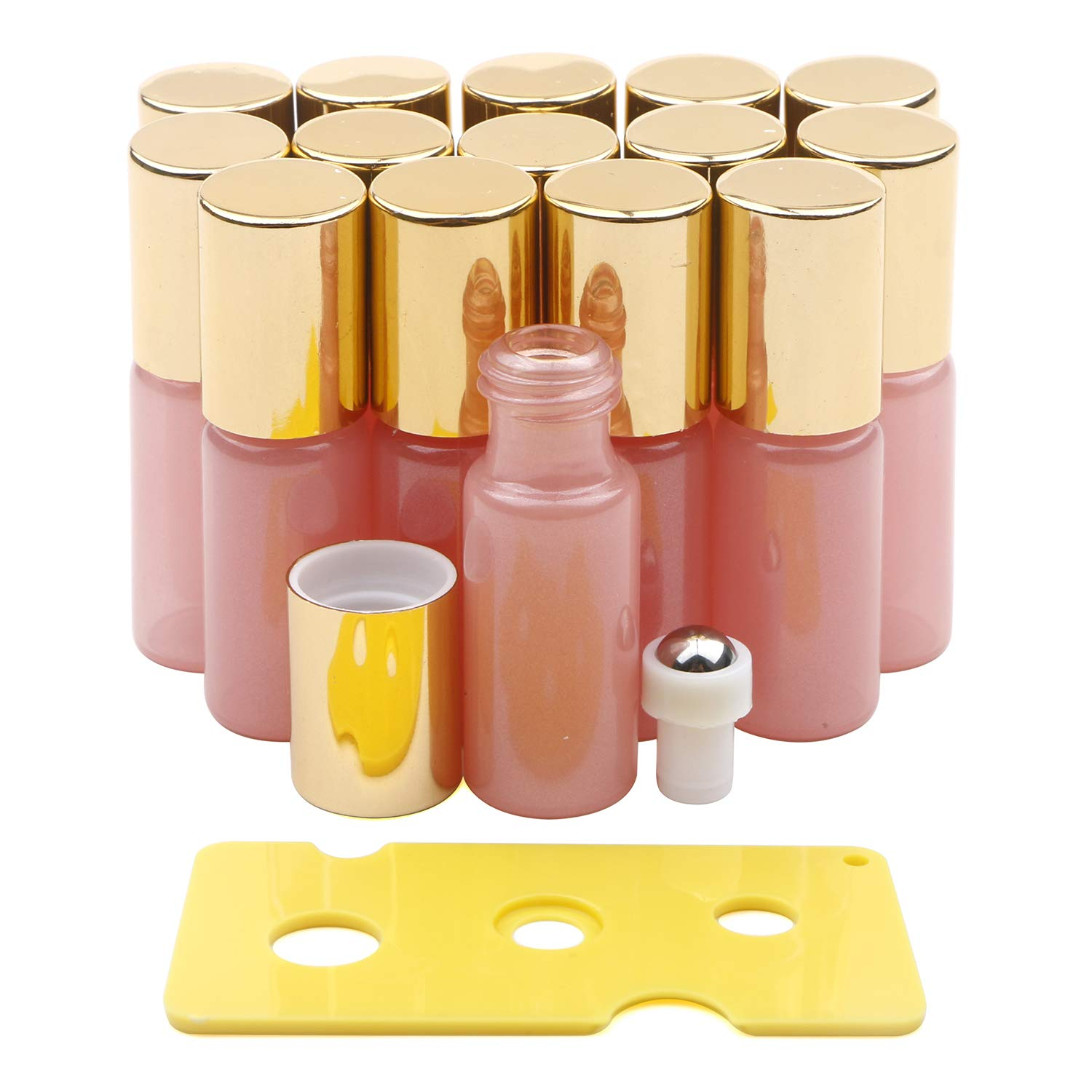 Glass Roller Bottles, Kesell 15 Pack 5ml Pearl Pink Essential Oil Roller Bottles with Stainless Steel Roller Ball and Golden Cap and Opener by Kesell
