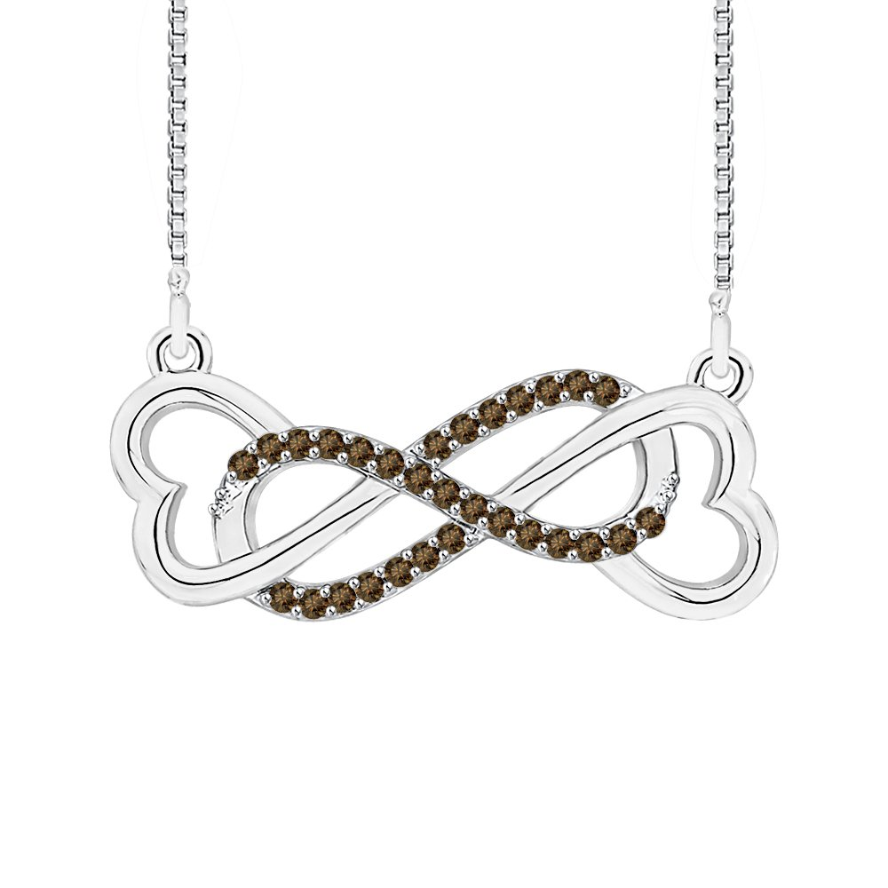 1//6 cttw KATARINA Cognac Diamond Heart Infinity Pendant Necklace in 10K Gold