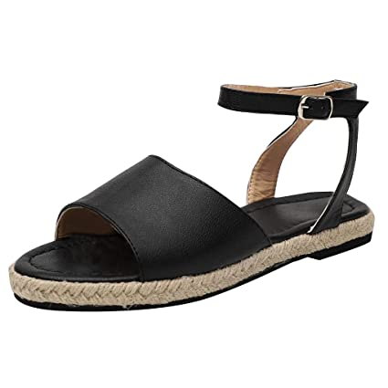 f6f60ea2bc9b Women's Summer Buckle Strap Flat Open Toe Beach Breathable Sandals Rome  Shoes (Black, 5